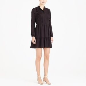 NWT! Jcrew black ruffle pintuck dress